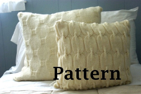 Chain Link Cable knit pillow cover pattern in cream