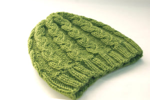 flat view of unisex cable knit hat pattern