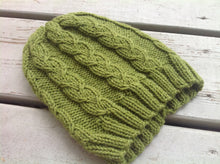 unisex green cable knit hat knitting pattern