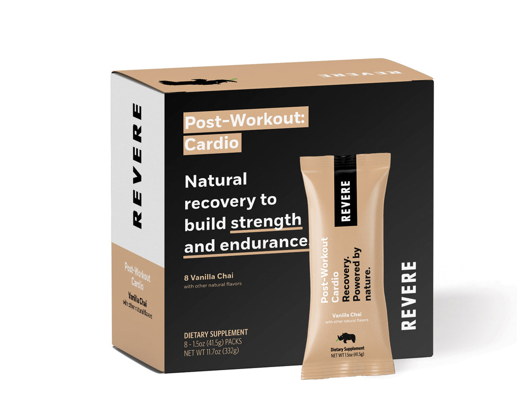 Plant-Based Revere Post-Workout Recovery Protein in black and tan colored Box containing 8 packets in Vanilla Chai for Cardio on white background