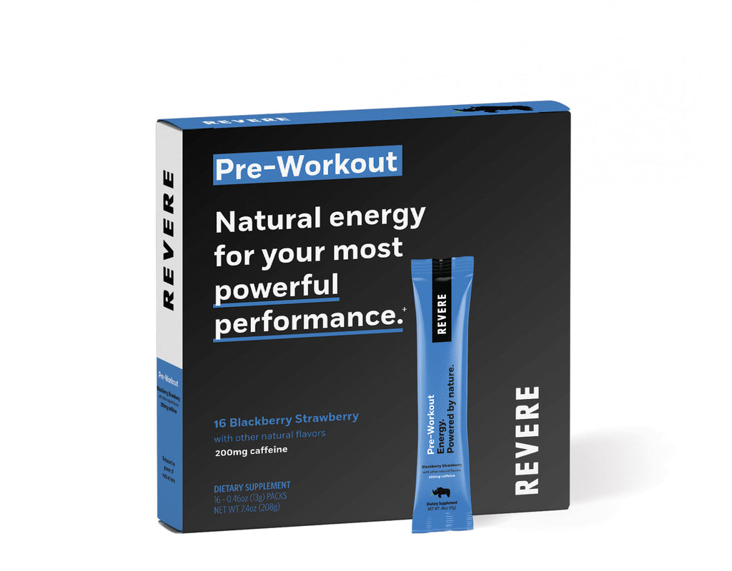 Plant-Based Revere Pre-Workout Energy in black and blue colored Box containing 16 packets in Blackberry Strawberry with caffeine on white background