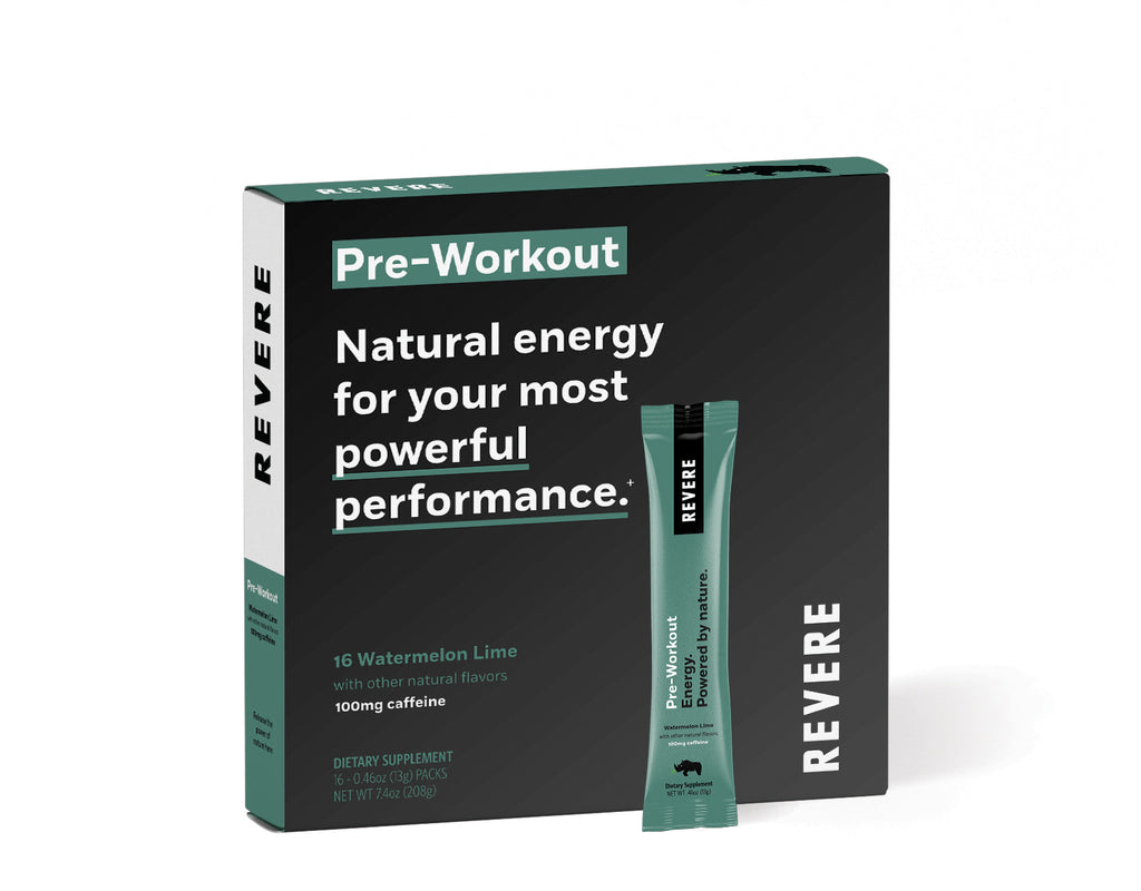 Plant-Based Revere Pre-Workout Energy in black and green colored Box containing 16 packets in Watermelon Lime with caffeine on white background