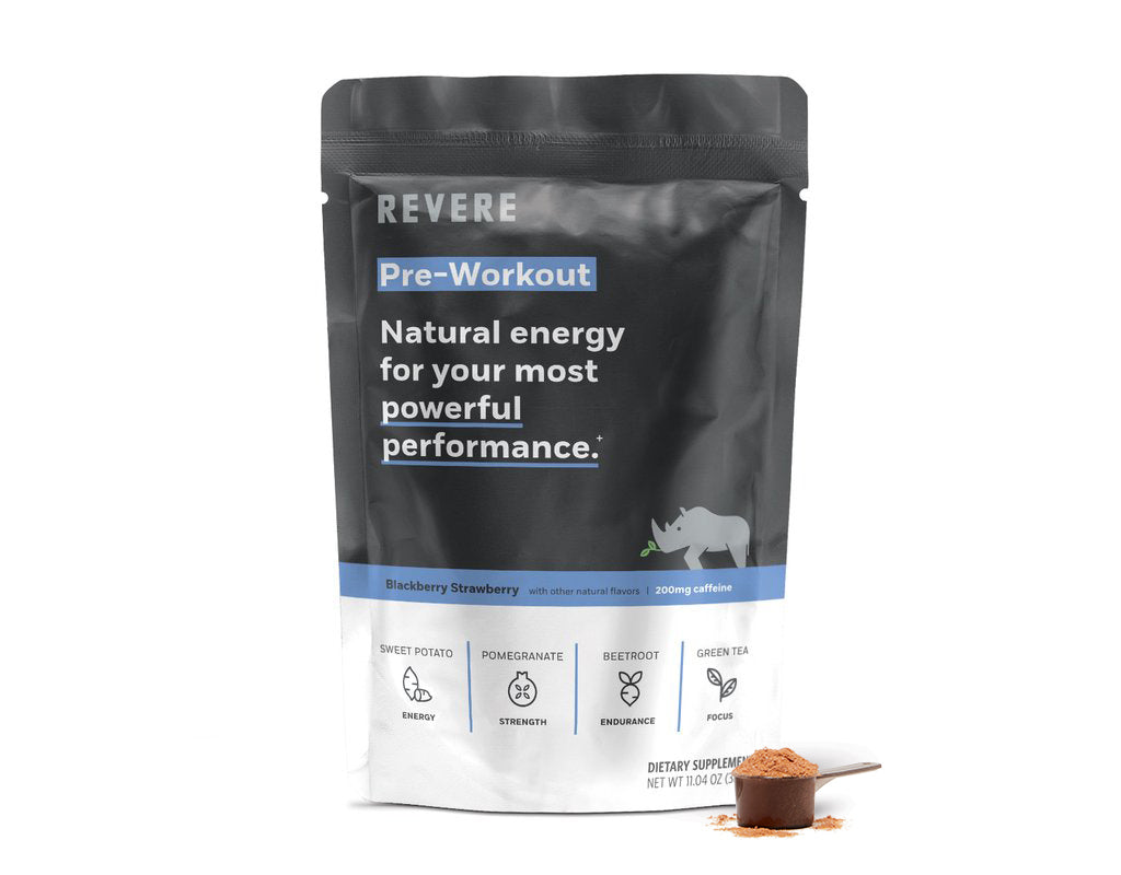 Plant-Based Revere Pre-Workout Energy Powder in scoop next to black and blue colored Bag containing 24 scoops in Blackberry Strawberry with caffeine on white background