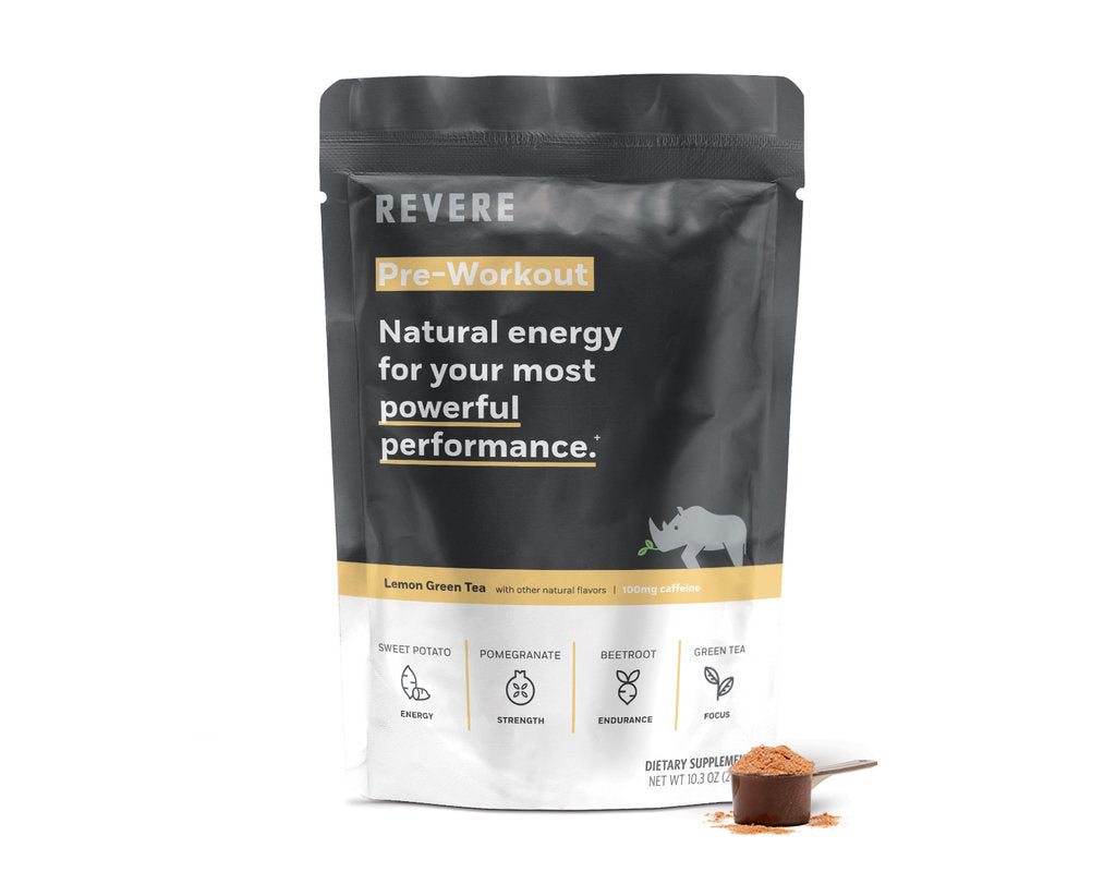 Plant-Based Revere Pre-Workout Energy Powder in scoop next to black and yellow colored Bag containing 24 scoops in Lemon Green Tea with caffeine on white background