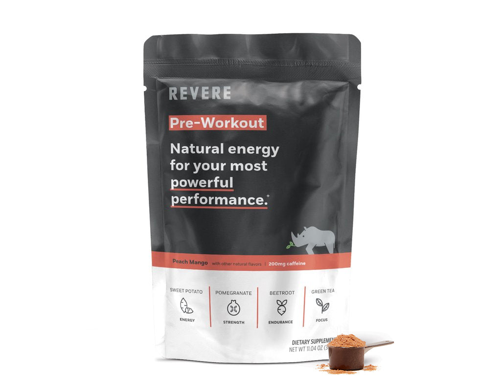 Plant-Based Revere Pre-Workout Energy Powder in scoop next to black and red colored Bag containing 24 scoops in Peach Mango with caffeine on white background