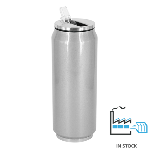 17 oz Can Thermos - Stainless Steel - Silver - w/straw lid