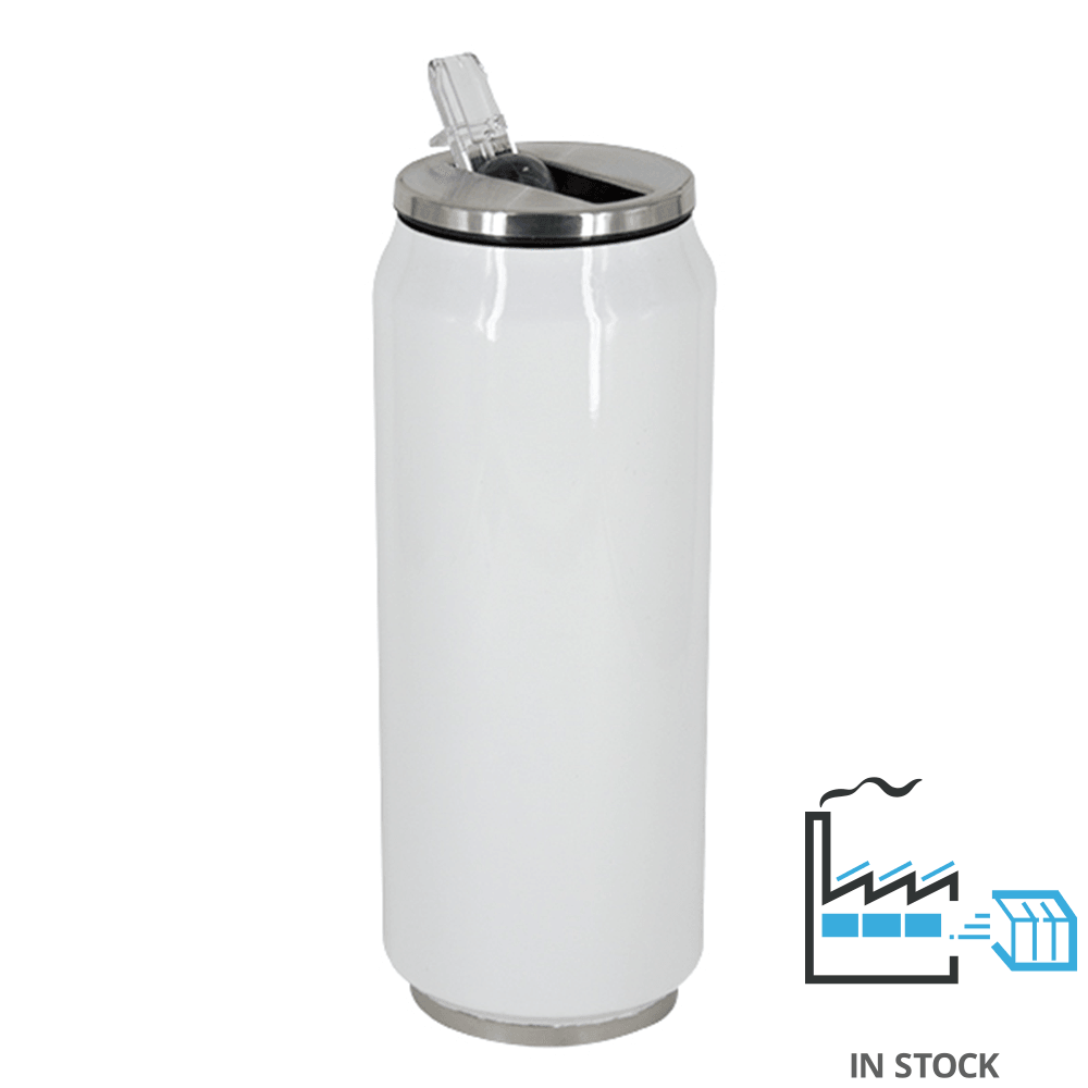 17 oz Can Thermos - Stainless Steel - White - w/straw lid - 48/case