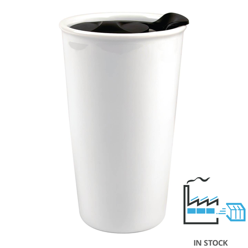 12 oz. Eco Traveler - Double Ceramic Travel Mug - w/Black Lid - Orca