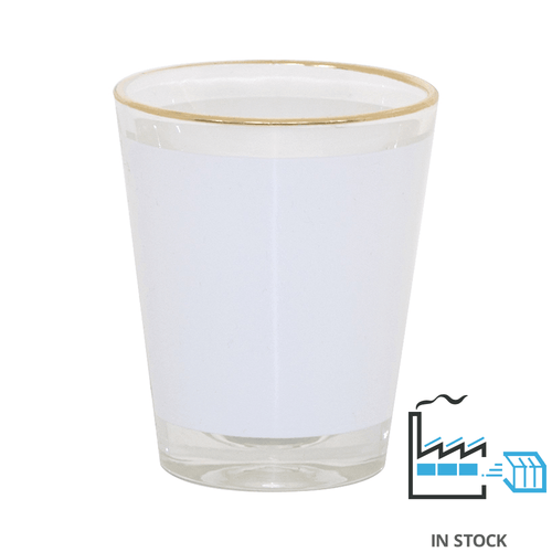 1.5 oz. Glass Shot With Gold Rim