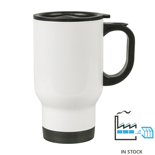 14 oz. Stainless Steel Travel Mug - White  - Orca