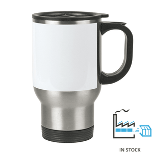 14 oz. Stainless Steel Travel Mug with White Patch - Orca