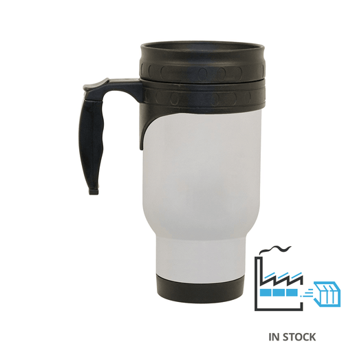 14 oz. Stainless Steel Mug - Economy size (with Plastic Insert) - White -Orca
