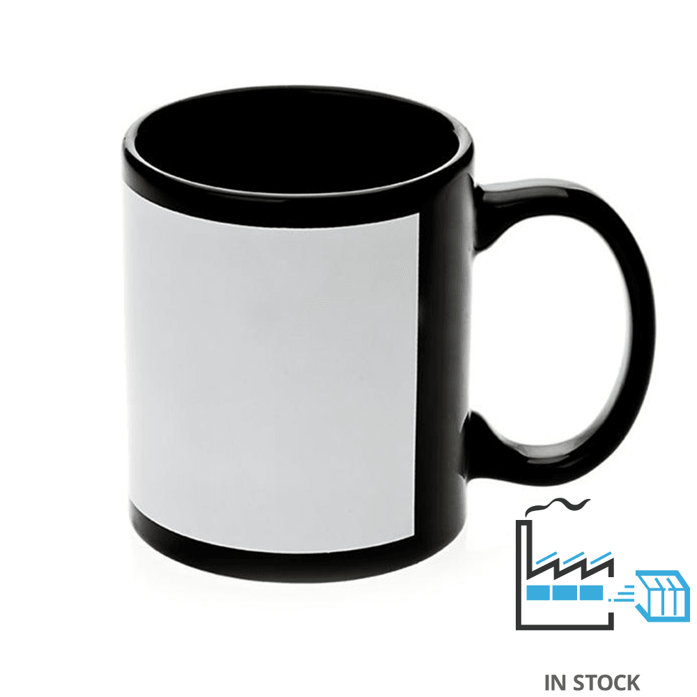 11 oz. Ceramic Mug - Black Mugs with Silk Screen White Patch - 7.5