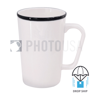 12 oz. Ceramic Latte Mug w/ Black Rim & Geometrical Handle