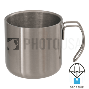 10oz Stainless Steel Coffee Cup w/ Steel Wire Handle