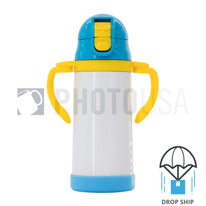 350ml Double Handle Baby Water Bottle w/ Straw (Blue/Yellow)