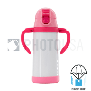 350ml Double Handle Baby Water Bottle w/ Straw (Pink)