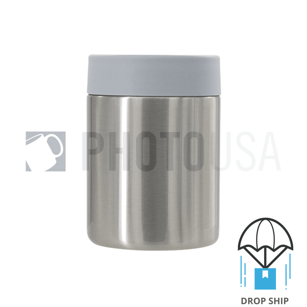 350ml Double Wall Stainless Steel Cola Can Cooler w/ Gray Rubber Ring