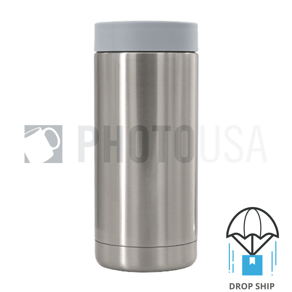 600ml Double Wall Stainless Steel Cola Can Cooler w/ Gray Rubber Ring