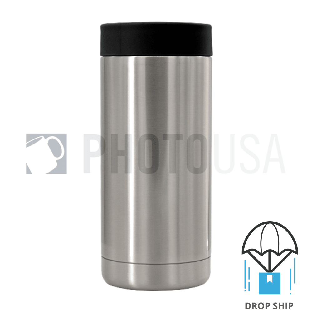 600ml Double Wall Stainless Steel Cola Can Cooler w/ Black Rubber Ring