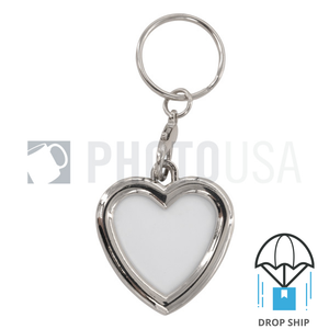 Heart Shape Double Insert Aluminum Sheet Keychain