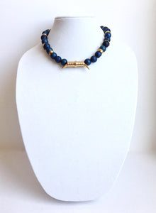 "dark blue druzy agate beads mixed with metal - 16"" - STYLE 013"