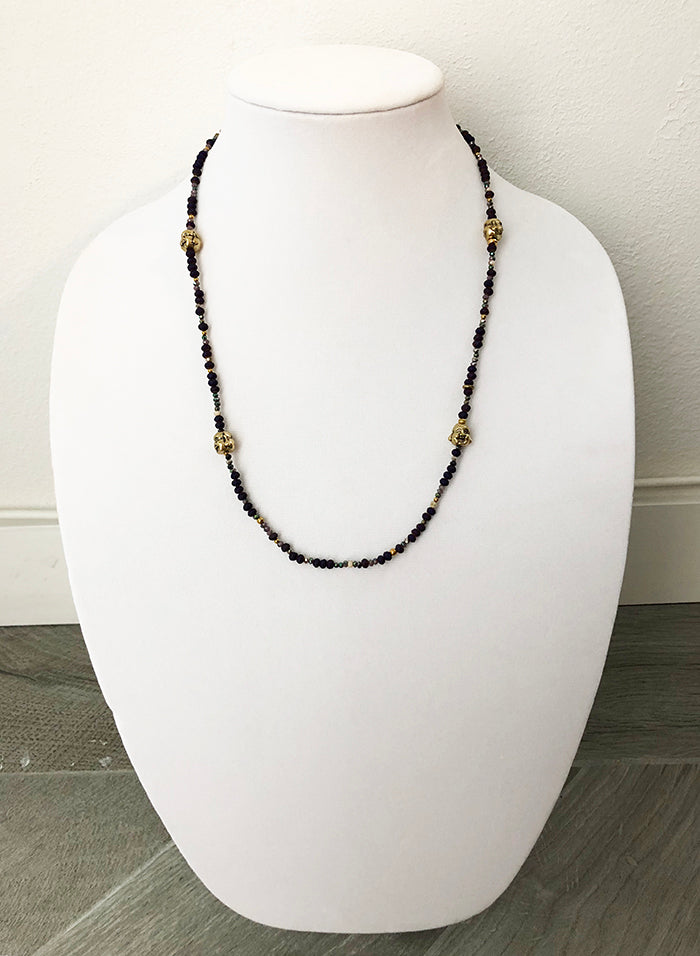mixed beads dark purple w buddhas - 24