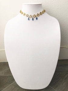 "gold plated chain with swarovski stones - 14.5"" - STYLE 107"