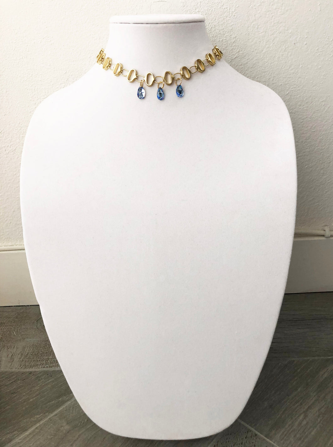 gold plated chain with swarovski stones - 14.5