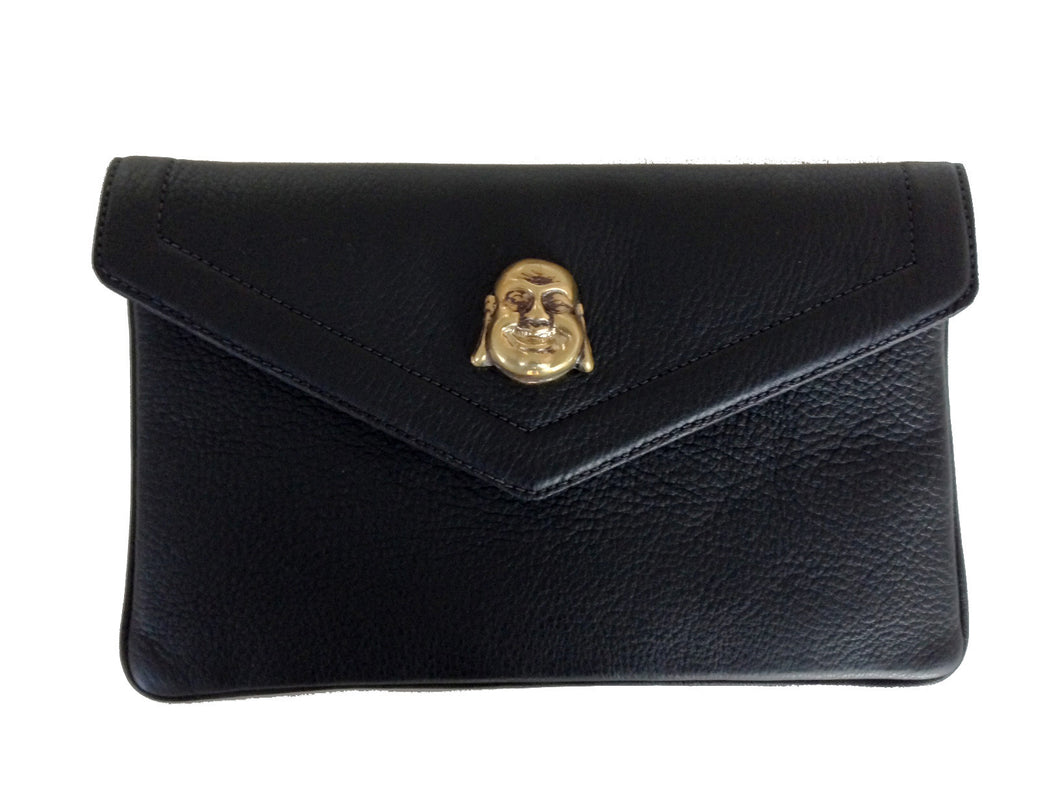 Lambskin leather clutch with buddha - black