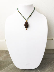 "mixed beads with wood pendant & swarovski stone - 19"" - STYLE 120"