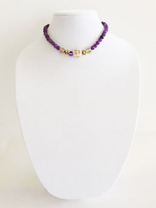 "glass and metal beads - 15.5"" - STYLE 012"