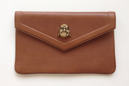 Lambskin leather clutch with buddha - camel