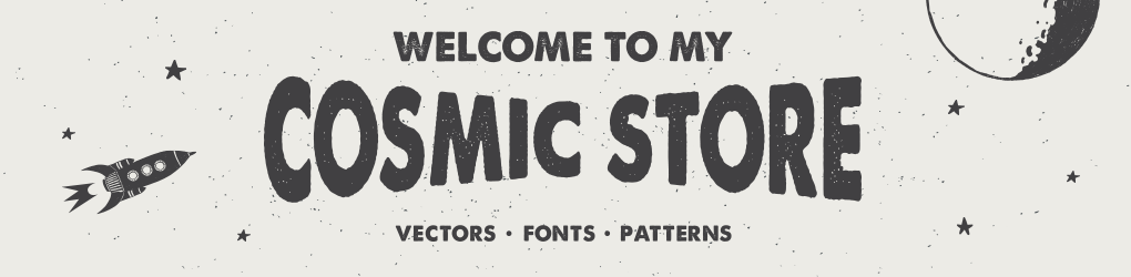 In my Cosmic Store you can find hand drawn illustrations, fonts, and other inter­esting things that help you reach for the stars!