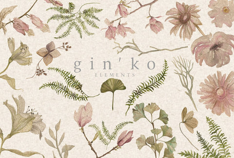 GIN'KO Textured Watercolor Graphics by studioequinox