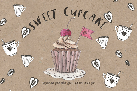 Free sweet cupcake design psd by Mikibith Creative Market