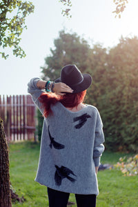 Warm long wool sweater Urban birds | VÉJA,knitted sweater | Women fashio shop|  Flamingolandia.online