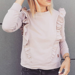 Breastfeeding longsleeve blouse with flounce PINK