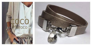 "Natural leather bracelet -    ""CM secret. Shine"" Coco Maroco 