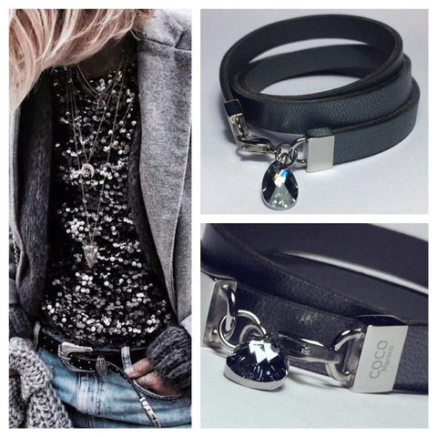 "Natural leather bracelet with Swarowski crystal -    ""CM secret. Blackness"" Coco Maroco,Bracelet- Flamingolandia.online"