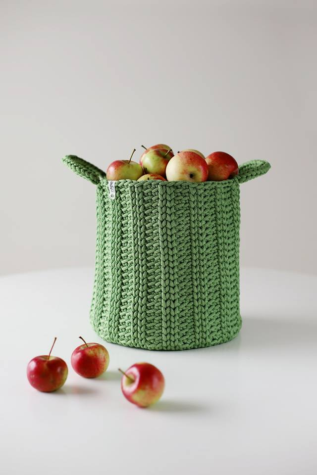 Rope croatched basket - Green Magic,basket- Flamingolandia.online