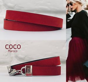 "Natural leather bracelet -    ""CM secret. Red velvet"" Coco Maroco 