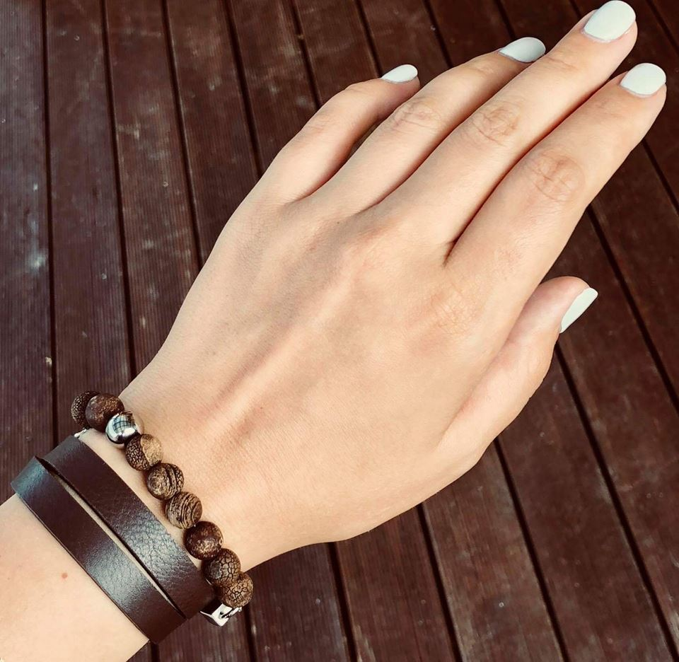 "Natural leather bracelet -    ""CM secret. Chocolate"" Coco Maroco 