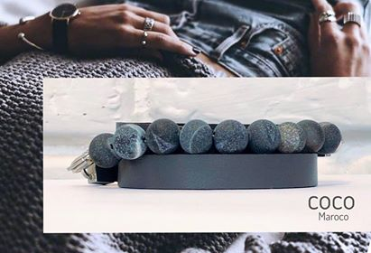 "Natural leather bracelet -    ""CM secret. Green Marble"" Coco Maroco 
