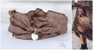 "Silk bracelet with silver heart-    ""CM secret. Autumn love"" Coco Maroco,Bracelet- Flamingolandia.online"