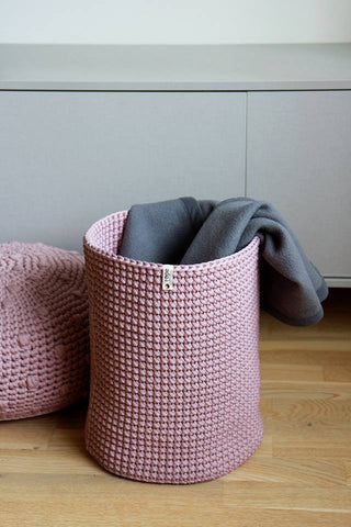 Rope croatched basket - Dusty Pink,basket | Women fashio shop|  Flamingolandia.online