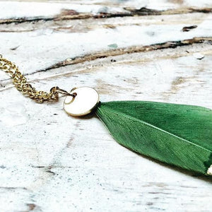 Green long leather necklace TULUA accessories | Flamingolandia