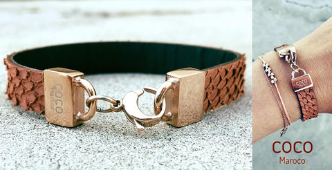 "Natural leather bracelet -    ""CM secret Gold dust"" Coco Maroco 