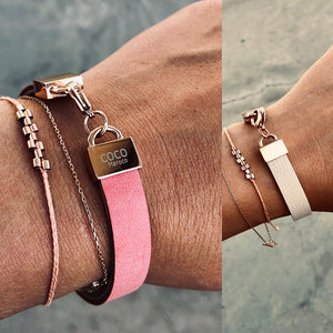 "Natural leather bracelet -    ""CM secret. Rose Ivory"" Coco Maroco 