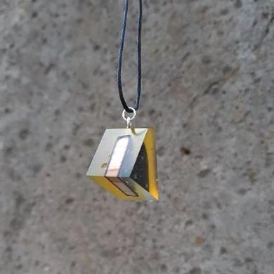 Neck  pendant - Yellow irregular triangle  by  PAKA BINTI | Flamingolandia